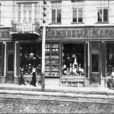 Магазин И.Е. Рыбакова в доме дворянина Ф.И. Грошковского на углу Московской и Можаевской улиц.